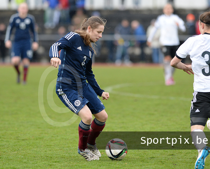 20150404 - FORST , GERMANY  : Scottish Sarah Clelland (3) pictured during the soccer match between Women Under 19 teams of Germany and Scotland , on the first matchday in group 5 of the UEFA Elite Round Women Under 19 at WaldseeStadion , Forst , Germany . Saturday 4th April 2015 . PHOTO DAVID CATRY