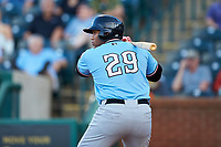 Curtis Terry (29) of the Hickory Crawdads at bat against the Ocelotes de Greensboro at First National Bank Field on June 11, 2019 in Greensboro, North Carolina. The Crawdads defeated the Ocelotes 2-1. (Brian Westerholt/Four Seam Images)
