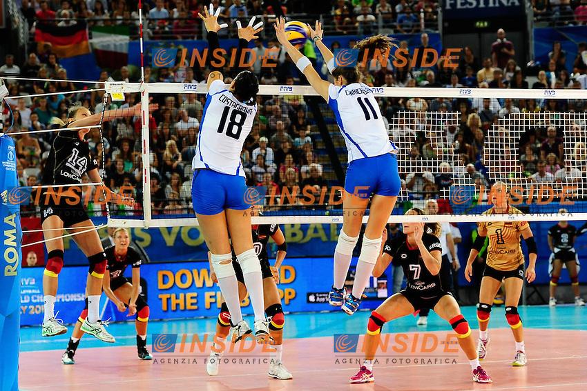Italia vs Germania<br /> 14 Margareta Kozuch c GER<br /> 11 Cristina Chirichella ITA<br /> 18 Carolina Del Pilar Costagrande ITA<br /> FIVB Volleyball Women's World Championship Italy 2014 <br /> Rome 25-09-2014 Palaeur Foto F.Pasquali/Insidefoto