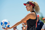 GULF SHORES, AL - MAY 07:  Abril Bustamante (10) of the University of Southern California serves the ball during the Division I Women's Beach Volleyball Championship held at Gulf Place on May 7, 2017 in Gulf Shores, Alabama.The University of Southern California defeated Pepperdine 3-2 to claim the national championship. (Photo by Stephen Nowland/NCAA Photos via Getty Images)