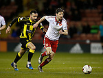 Chris Basham of Sheffield Utd gets clear of Robbie Weir of Burton Albion - English League One - Sheffield Utd vs Burton Albion - Bramall Lane Stadium - Sheffield - England - 1st March 2016 - Pic Simon Bellis/Sportimage