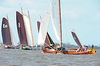 SKUTSJESILEN: LANGWEER: Langwarder Wielen, 15-04-2012, Skûtsjesilen Langwar, Grote Finale, It Doarp Eastermar (Eastermar), Striidber (IJlst), Wylde Wytse (Rotterdam), Jonge Jasper (Franeker), Singelier (Stavoren), Lytse Lies (Gaastmeer), ©foto Martin de Jong