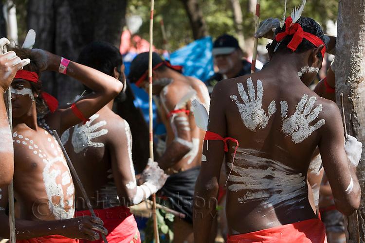 Indigenous dancers from the Yarrabah community at the Laura Aboriginal Dance Festival.  Laura, Queensland, Australia