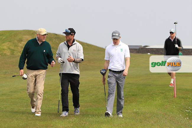 Stuart Grehan (Tullamore) and his team walking to the 3rd tee during the Flogas Irish Amateur Open Championship Am-Am at Royal Dublin on Monday 9th May 2016.<br /> Picture:  Thos Caffrey / www.golffile.ie