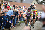World Champion Peter Sagan (SVK) Bora-Hansgrohe on the front with 25km to the finish during the 116th edition of Paris-Roubaix 2018. 8th April 2018.<br /> Picture: ASO/Pauline Ballet | Cyclefile<br /> <br /> <br /> All photos usage must carry mandatory copyright credit (&copy; Cyclefile | ASO/Pauline Ballet)