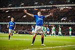 05.02.2020 Rangers v Hibs: George Edmundson scores for Rangers and celebrates