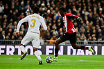 Eder Militao of Real Madrid and Inaki Williams of Athletic Club during La Liga match between Real Madrid and Athletic Club de Bilbao at Santiago Bernabeu Stadium in Madrid, Spain. December 22, 2019. (ALTERPHOTOS/A. Perez Meca)