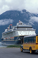 Cruise ship docked at the historic Klondike gold rush town Skagway, Alaska, Lynn Canal, end of the Alaska inside passage.,