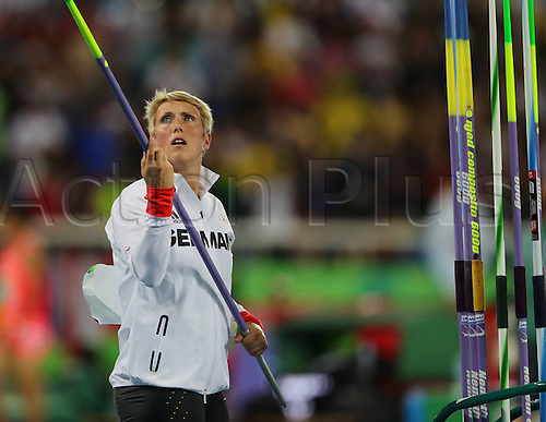 18.08.2016. Rio de Janeiro, Brazil. Christina Obergfoell of Germany competes in Women's Javelin Throw Final the Olympic Games 2016 Athletic, Track and Field events at Olympic Stadium during the Rio 2016 Olympic Games in Rio de Janeiro, Brazil, 18 August 2016.