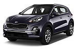 2019 KIA Sportage More 5 Door SUV angular front stock photos of front three quarter view