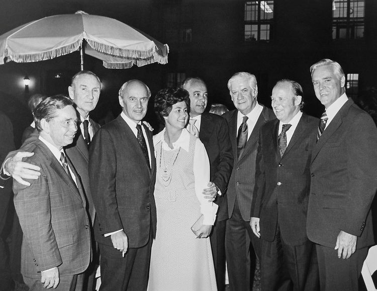 Sen. Mike Mansfield, D-Mont. with party leaders in 1975. (Photo by Dev O'Neill/CQ Roll Call)