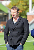 30th September 2017, Welford Road, Leicester, England; Aviva Premiership rugby, Leicester Tigers versus Exeter Chiefs;  Ex Tiger Austih Healey prepares to broadcast for BT Sport who are televising the match