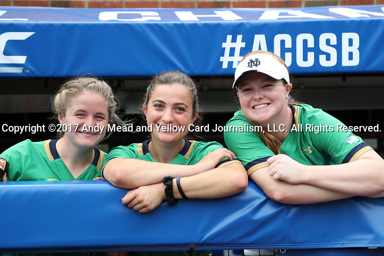 CHAPEL HILL, NC - MAY 11:  Notre Dame's Kimmy Sullivan (left), Katie Marino (center), and Kimmy Sullivan (right). The #4 Boston College Eagles played the #5 University of Notre Dame Fighting Irish on May 11, 2017, at Anderson Softball Stadium in Chapel Hill, NC in a 2017 Atlantic Coast Conference Tournament Quarterfinal Softball game. Notre Dame won the game 9-5 in eight innings.