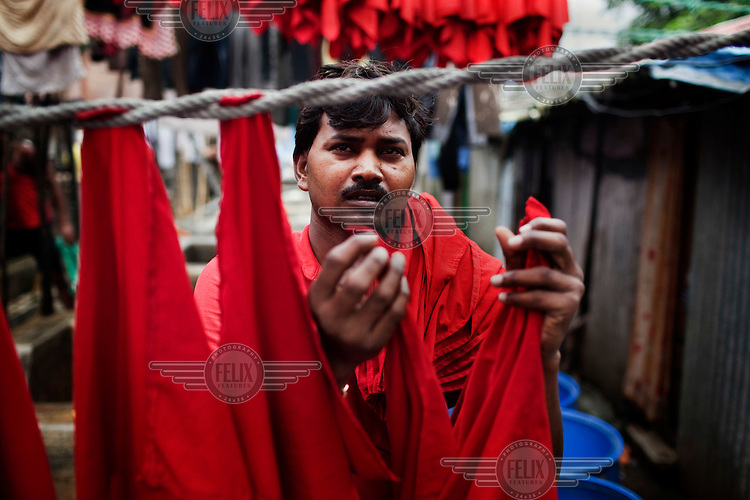 The open air laundromat called Dhobi Ghat where much of the city's laundry is done.