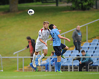 6th June 2014; UCD's Samir Belhout and Alex Byrne of Galway FC. FAI Ford Cup - Round 2, UCD v Galway FC, UCD Bowl, Belfield, Dublin. Picture credit: Tommy Grealy/actionshots.ie.