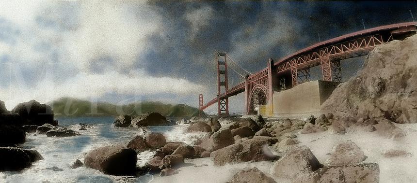 Golden Gate Bridge, San Francisco, California, hand-tinted.
