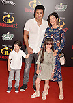 HOLLYWOOD, CA - JUNE 05: Mario Lopez, Courtney Laine Mazza and their children attend the premiere of Disney and Pixar's 'Incredibles 2' at the El Capitan Theatre on June 5, 2018 in Los Angeles, California.