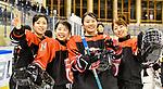 07.01.2020, BLZ Arena, Füssen / Fuessen, GER, IIHF Ice Hockey U18 Women's World Championship DIV I Group A, <br /> Ungarn (HUN) vs Japan (JPN), <br /> im Bild Kaho Suzuki (JPN, #13), Ami Sasaki (JPN, #14), Mei Sakurai (JPN, #4) und Airi Sato (JPN, #23) sind gut gelaunt<br /> <br /> Foto © nordphoto / Hafner