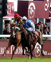 Solemia (right) ridden by Olivier Peslier celebrates after  beating Orfevre (left) ridden by christophe Soumillon in the Qatar Prix Del'Arc de Triomphe at Longchamp in Paris, france. Photo: i-Images / DyD Fotografos