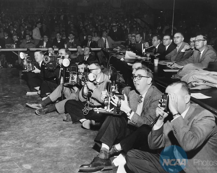 22 MAR 1958:  The photo corps at the 1958 NCAA Men's Basketball National Championship held in Louisville, KY Freedom Hall.  Photo Copyright Louisville Courier Journal