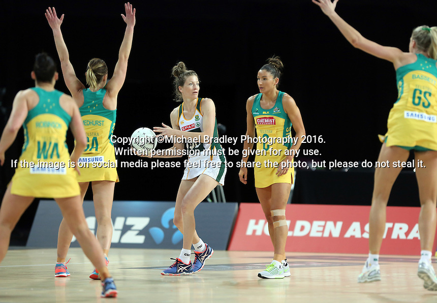 27.08.2016 South Africa's Karla Mostert in action during the Netball Quad Series match between South Africa and Australia at Vector Arena in Auckland. Mandatory Photo Credit ©Michael Bradley.