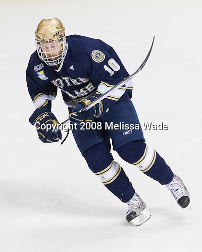 Justin White (Notre Dame 10) - The Boston College Eagles won the NCAA D1 national championship by defeating the University of Notre Dame Fighting Irish 4-1 in the final of the 2008 Frozen Four at the Pepsi Center in Denver, Colorado on Saturday, April 12, 2008.
