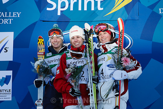 Trent Nelson  |  The Salt Lake Tribune.left to right: Winners in the Moguls Final, Heather Kearney (USA, 2nd), Jennifer Heil (Canada, 1st), and Kristi Richards (Canada, 3rd) at the FIS Freestyle World Ski Championships Wednesday, February 2, 2011 at Deer Valley.