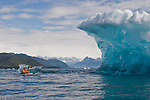Alaska, Prince William Sound, Sea kayaker, Iceberg, Columbia Glacier, USA, David Fox, released,