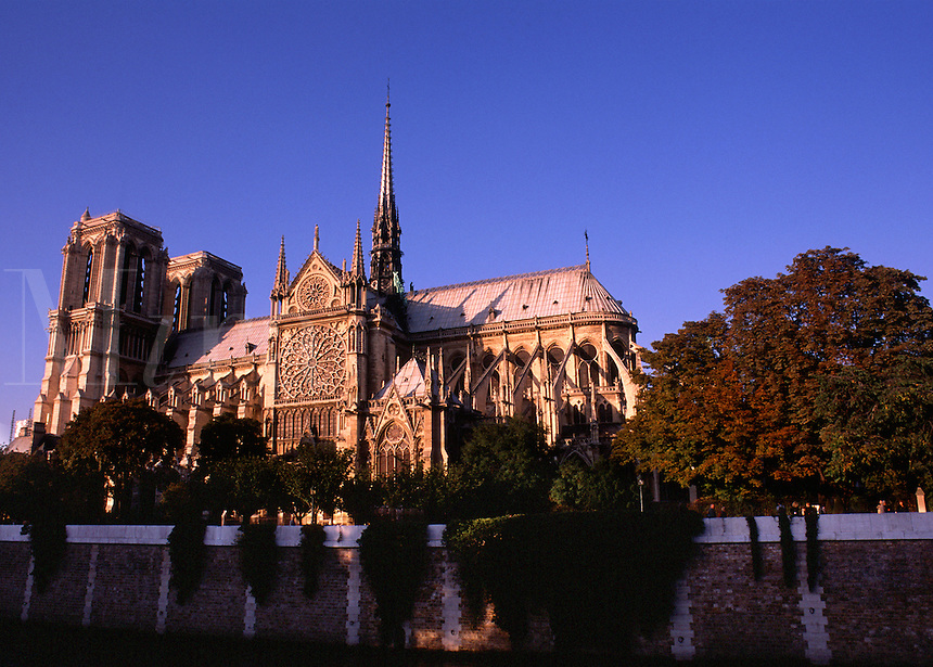 The exterior of Notre Dame Cathedral at night. Paris, France.