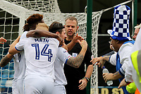 Matty Kennedy celebrates scoring Portsmoutth opening goal with the away fans during Gillingham vs Portsmouth, Sky Bet EFL League 1 Football at the MEMS Priestfield Stadium on 8th October 2017