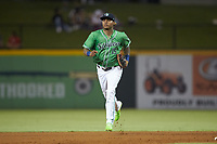 Gwinnett Stripers outfielder Cristian Pache (15) jogs off the field between innings of the game against the Scranton/Wilkes-Barre RailRiders at BB&T BallPark on August 16, 2019 in Lawrenceville, Georgia. The Stripers defeated the RailRiders 5-2. (Brian Westerholt/Four Seam Images)