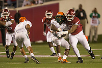 Hawgs Illustrated/BEN GOFF <br /> Briston Guidry, Arkansas defensive end, tackles Tevin Spells (20), Florida A&M fullback, Thursday, Aug. 31, 2017, during the game at War Memorial Stadium in Little Rock.