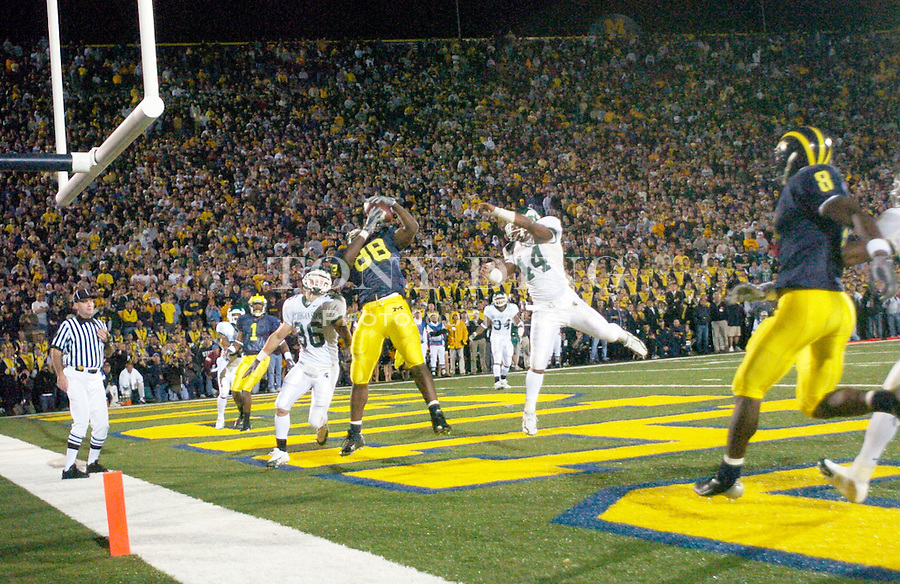 Michigan senior tight end Tim Massaquoi (88) catches the game-winning, two-point-conversion touchdown pass from freshman quarterback Chad Henne during the Wolverines' 45-37 (3 OT) victory over the Michigan State Spartans on Saturday, October 30, 2004 in Ann Arbor, Mich. (Photo by TONY DING/Daily)