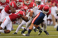 10/31/15<br /> Arkansas Democrat-Gazette/STEPHEN B. THORNTON<br /> Arkansas' defenders stop  Ut Martin's Jordan Landry inside the ten as Landry tries to return a kickoff in the first quarter during their game Saturday in Fayetteville.