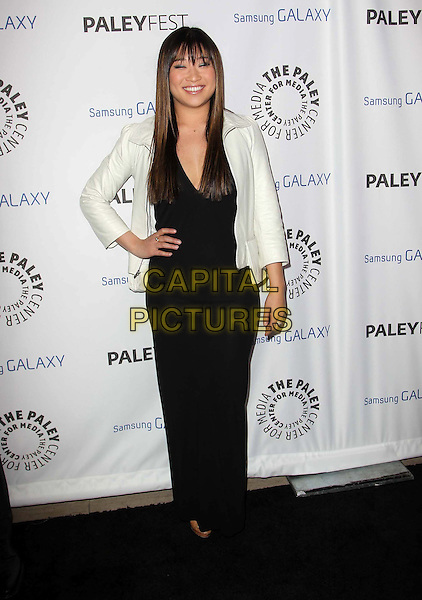 Jenna Ushkowitz.PaleyFest Icon Award 2013 Held At The Paley Center for Media, Beverly Hills, California, USA..February 27th, 2013.full length black white leather jacket dress hand on hip.CAP/ADM/KB.©Kevan Brooks/AdMedia/Capital Pictures.