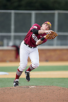 Harvard Crimson third baseman John Fallon (7) catches a pop fly near the pitchers mound during the game against the Wake Forest Demon Deacons at David F. Couch Ballpark on March 5, 2016 in Winston-Salem, North Carolina.  The Crimson defeated the Demon Deacons 6-3.  (Brian Westerholt/Four Seam Images)
