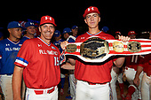 Matthew Liberatore (32) of Mountain Ridge High School in Peoria, Arizona poses for a photo with Steve Bernhardt (15) after being named the game MVP for the Under Armour All-American Game presented by Baseball Factory on July 29, 2017 at Wrigley Field in Chicago, Illinois.  (Mike Janes/Four Seam Images)