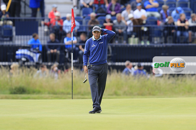 David HOWELL (ENG) lines up his putt on the 2nd green during Sunday's Round  of the 144th Open Championship, St Andrews Old Course, St Andrews, Fife, Scotland. 19/07/2015.<br /> Picture Eoin Clarke, www.golffile.ie