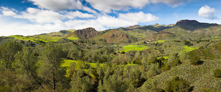 San Rafael Mountains covered in the green of spring. Santa Barbara County, CA.