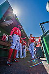 27 April 2014: Washington Nationals players await the start of play against the San Diego Padres at Nationals Park in Washington, DC. The Padres defeated the Nationals 4-2 to to split their 4-game series. Mandatory Credit: Ed Wolfstein Photo *** RAW (NEF) Image File Available ***