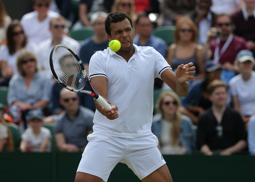 Jo-Wilfried Tsonga of France in action during his victory over John Isner of USA in their Gentlemen's Singles Third Round match today<br /> <br /> Photographer Stephen White/CameraSport<br /> <br /> Tennis - Wimbledon Lawn Tennis Championships - Middle/People's Sunday - Sunday 3rd July 2016 -  All England Lawn Tennis and Croquet Club - Wimbledon - London - England<br /> <br /> World Copyright &copy; 2016 CameraSport. All rights reserved. 43 Linden Ave. Countesthorpe. Leicester. England. LE8 5PG - Tel: +44 (0) 116 277 4147 - admin@camerasport.com - www.camerasport.com
