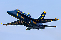 Lcdr Brandon Kempler pilots Blue Angel's F-18 Hornet as the lead solo aircraft.
