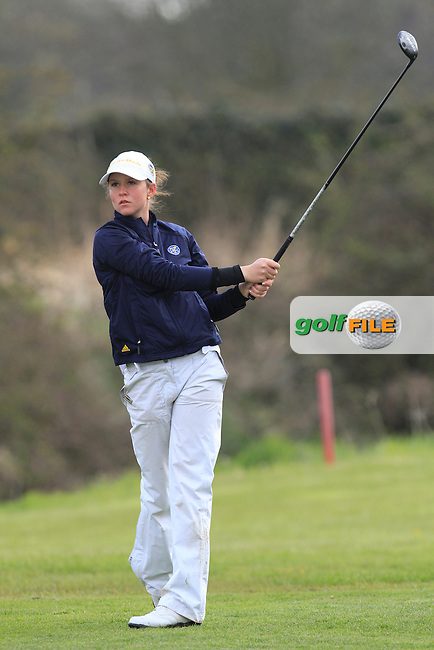Linn Grant (SWE) on the 8th tee during Round 3 of The Irish Girls Open Strokeplay Championship in Roganstown Golf Club on Sunday 19th April 2015.<br /> Picture:  Thos Caffrey / www.golffile.ie
