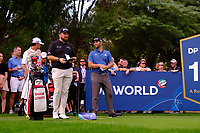 Shane Lowry (IRL) and Jon Rahm (ESP) on the 16th tee during the 1st round of the DP World Tour Championship, Jumeirah Golf Estates, Dubai, United Arab Emirates. 21/11/2019<br /> Picture: Golffile | Fran Caffrey<br /> <br /> <br /> All photo usage must carry mandatory copyright credit (© Golffile | Fran Caffrey)