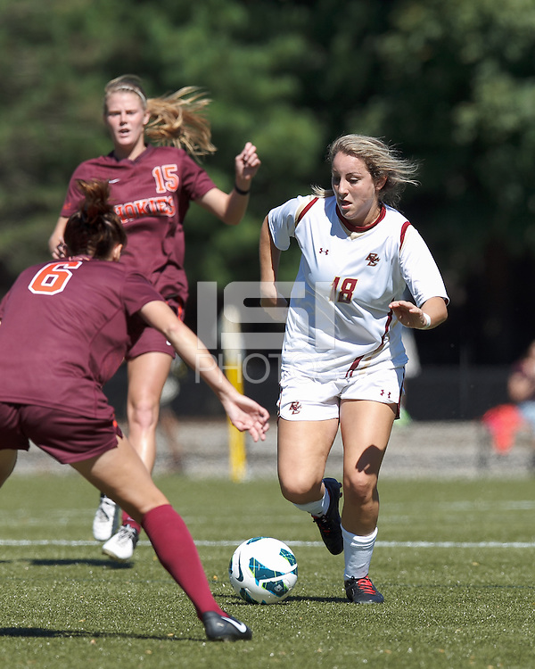 Boston College midfielder Patrice Vettori (18) brings the ball forward. Virginia Tech (maroon) defeated Boston College (white), 1-0, at Newton Soccer Field, on September 22, 2013.
