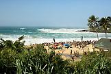 USA, Hawaii, Oahu, elevated view of people watching the Eddie Aikau surfing competition, Waimea Bay