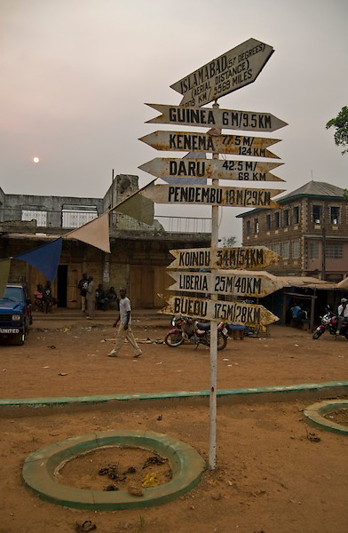 Signpost in Kailahun. Sierra Leone. Photo taken April 8, 2004.