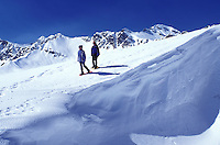 Alps, snowshoeing, Switzerland, Valais, Les Crosets, Portes du Soleil, Swiss Alps, Europe, Mother and daughter snowshoeing in the Portes du Soleil ski resort the largest international and linked ski resort in the world in the Swiss Alps.