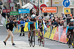 An amateur cyclist tries to cross the finish line with Oliver Naesen (BEL) AG2R La Mondiale of Stage 2 of the Criterium du Dauphine 2019, running 180km from Mauriac to Craponne-sur-Arzon, France. 9th June 2019<br /> Picture: Colin Flockton | Cyclefile<br /> All photos usage must carry mandatory copyright credit (© Cyclefile | Colin Flockton)