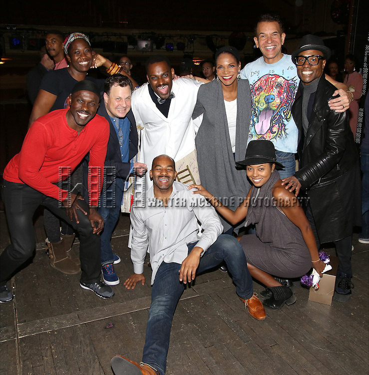 Joshua Henry, Amber Iman, Brooks Ashmanskas, Arbender Robinson, Brandon Victor Dixon, Audra McDonald, Andrienne Warren, Brian Stokes Mitchell and Billy Porter during the Actors' Equity Opening Night Gypsy Robe Ceremony honoring Arbender Robinson for 'Shuffle Along' at The Music Box Theatre on April 28, 2016 in New York City.
